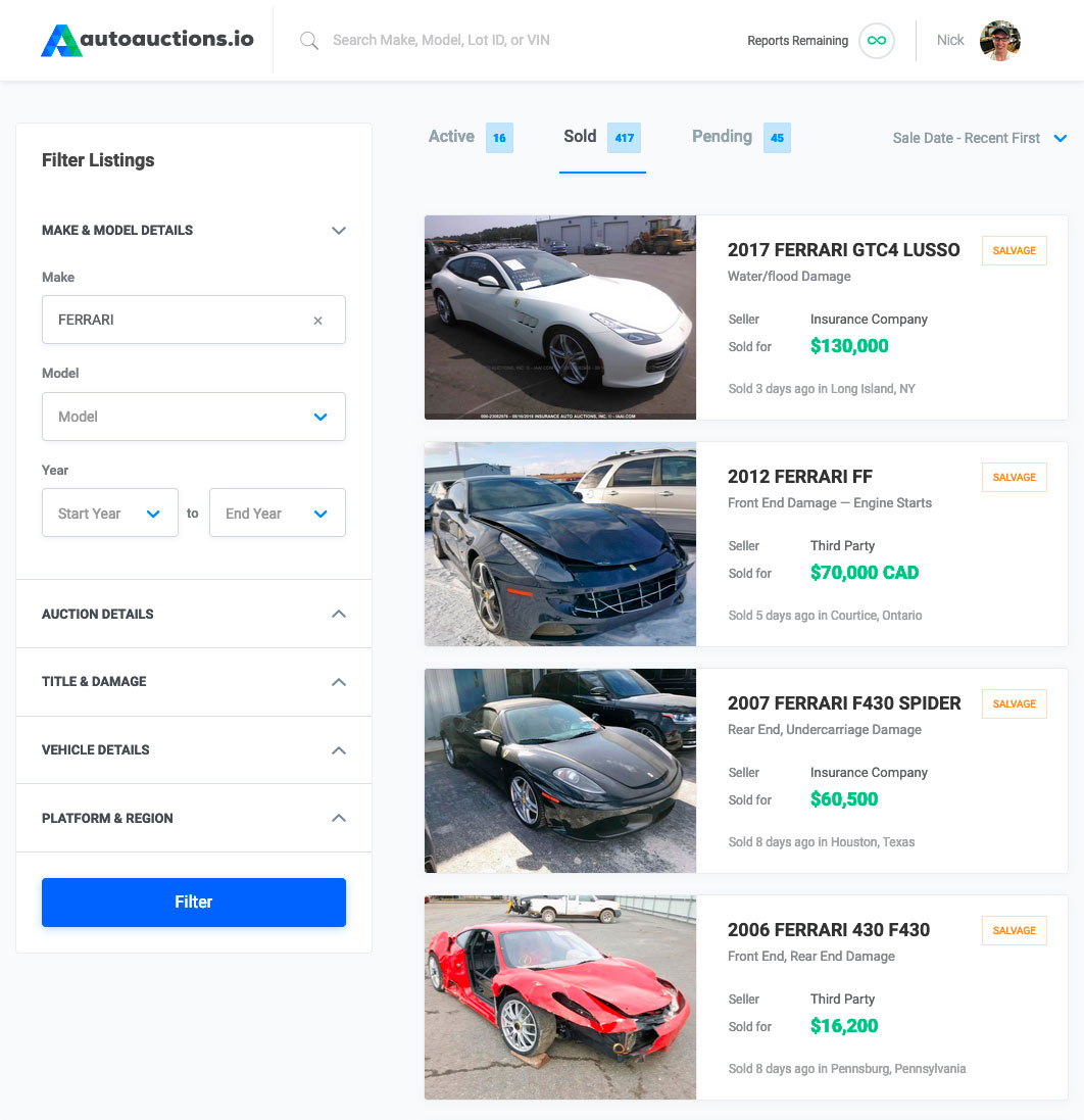Car Auction Apps >> Auto Auction Research Tool Autoauctions Io