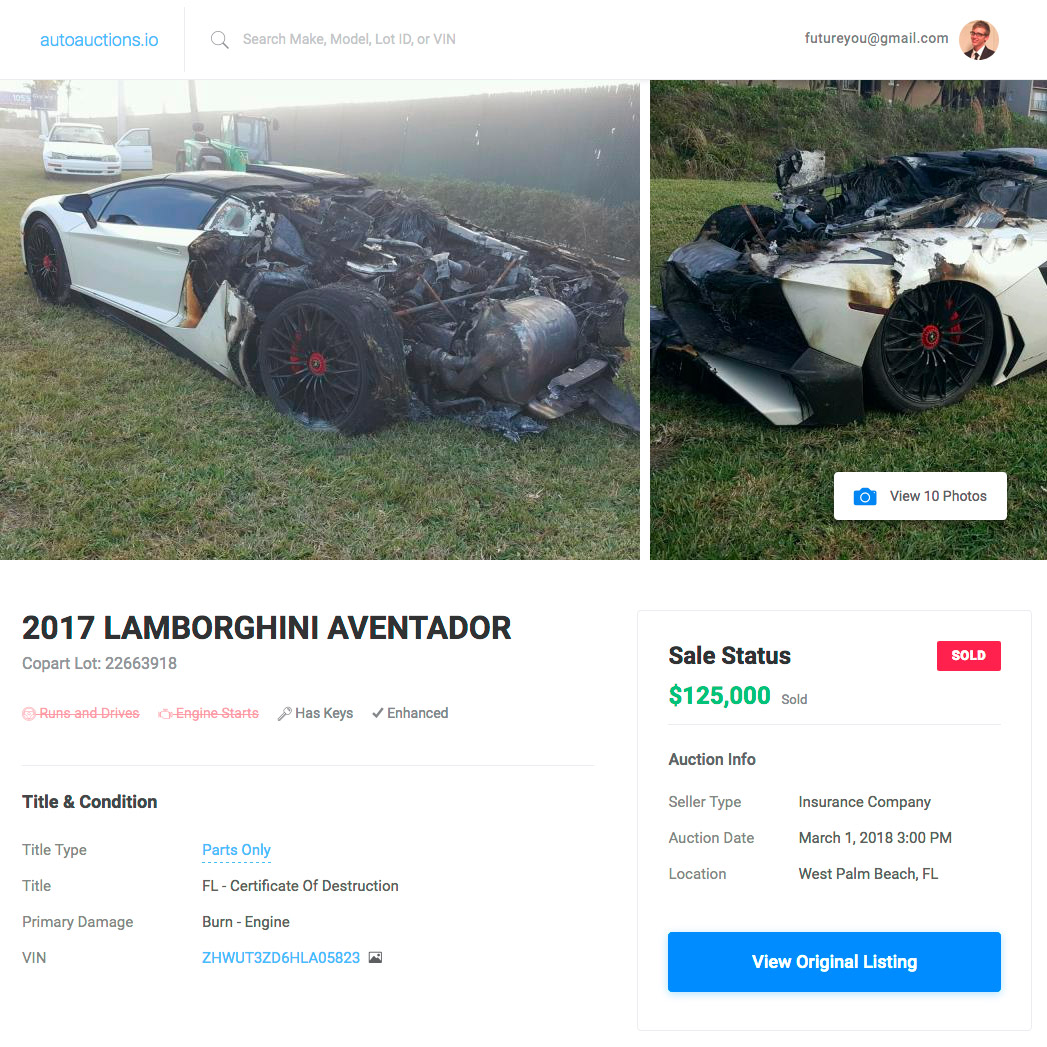 AutoAuctions.io - Burned Lambo (Desktop)