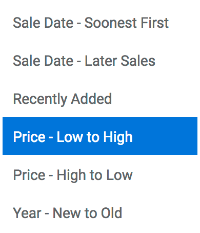 Sort by Price - Low to High